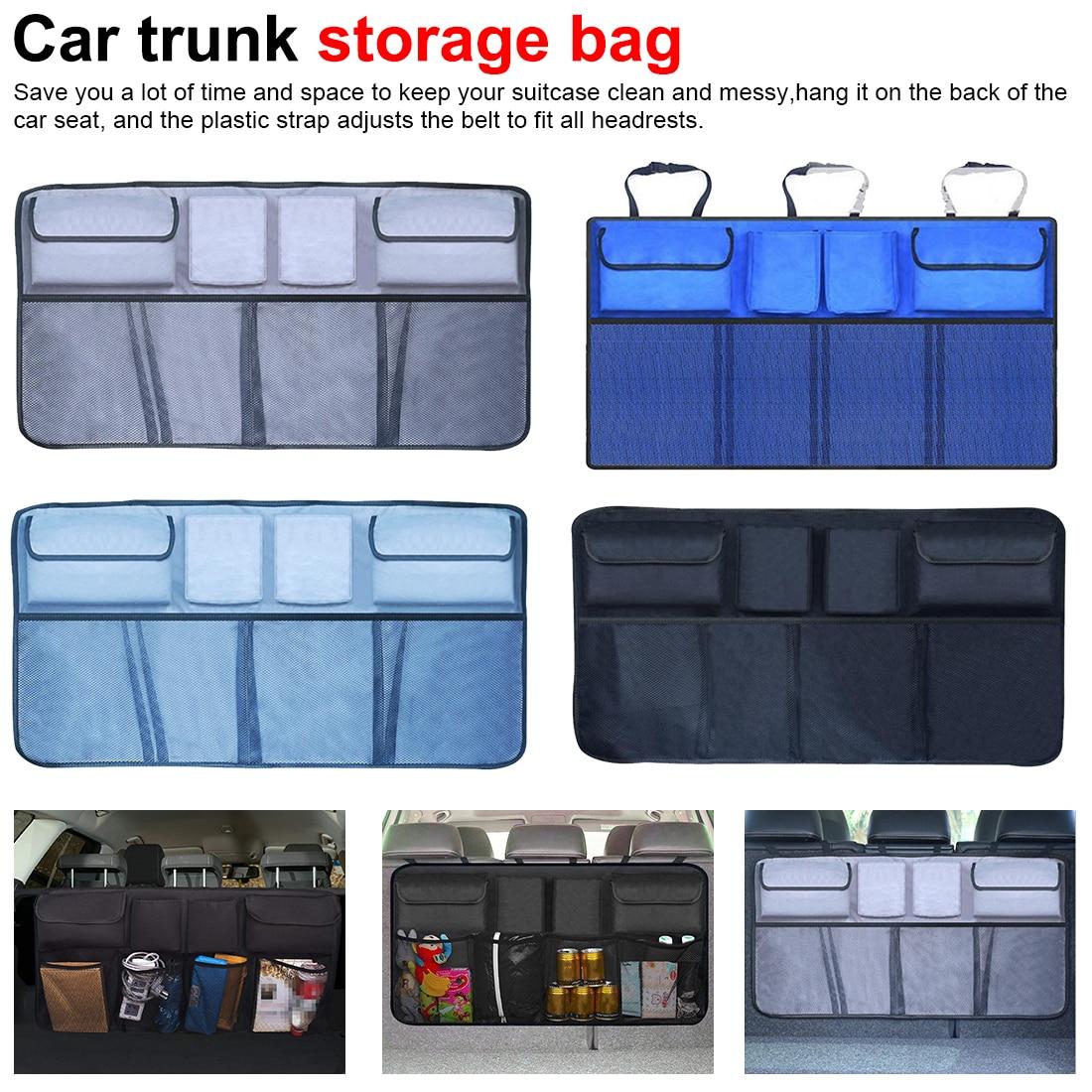 Car Trunk Organizer Adjustable Backseat Storage Bag Net High Capacity Multi-use Seat Back Organizers Universal