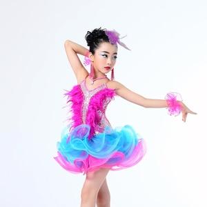 Image 2 - Children Professional Latin Dance Dress for Girls Ballroom Dance Competition Dresses kids Modern Waltz/tango / Cha Cha Costumes