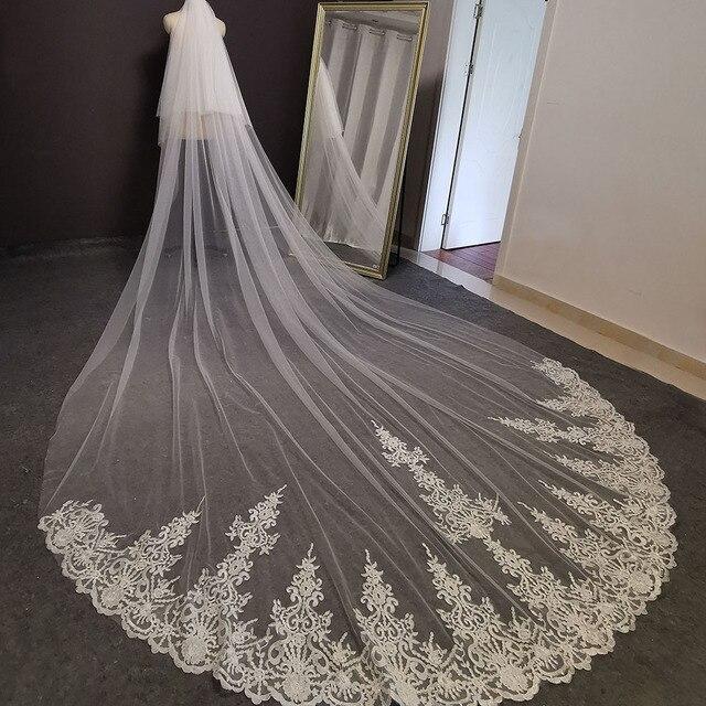 Fotos reais 2 camadas longo véu de casamento 4 m laço véu nupcial com blusher 2 t branco marfim alta qualidade véu para a noiva 3