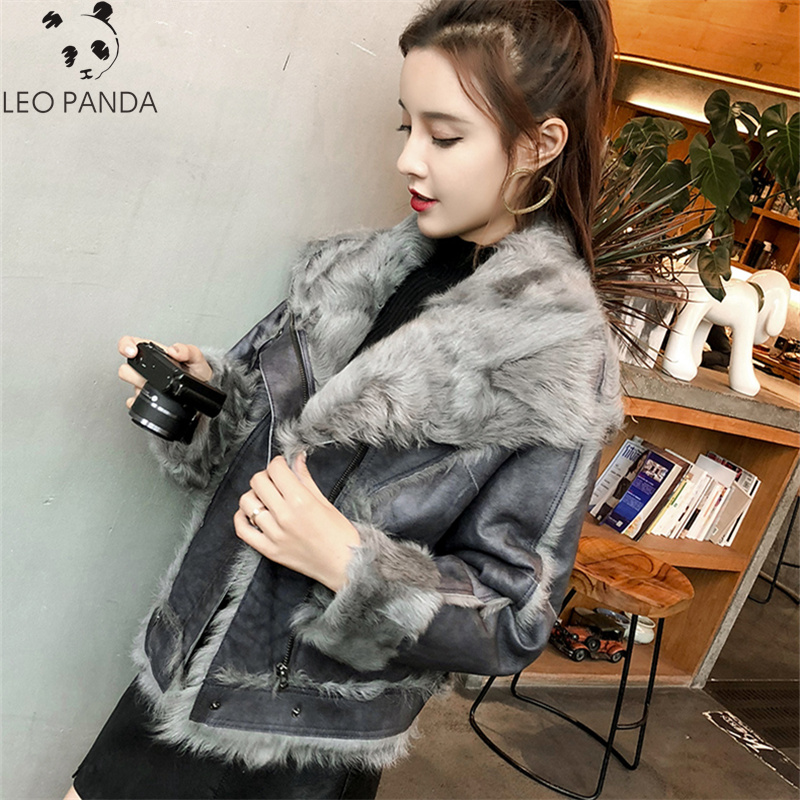 2019 Winter Women's New High Quality Leather Jacket Bat Sleeve Lapel Han Lamb Short Gray Grey Jacket