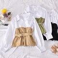 Весенняя строчка рубашка 2020 новая женская мода Корейская верхняя одежда женская с длинным рукавом Ropa De Mujer Harajuku Повседневная Блузка P249