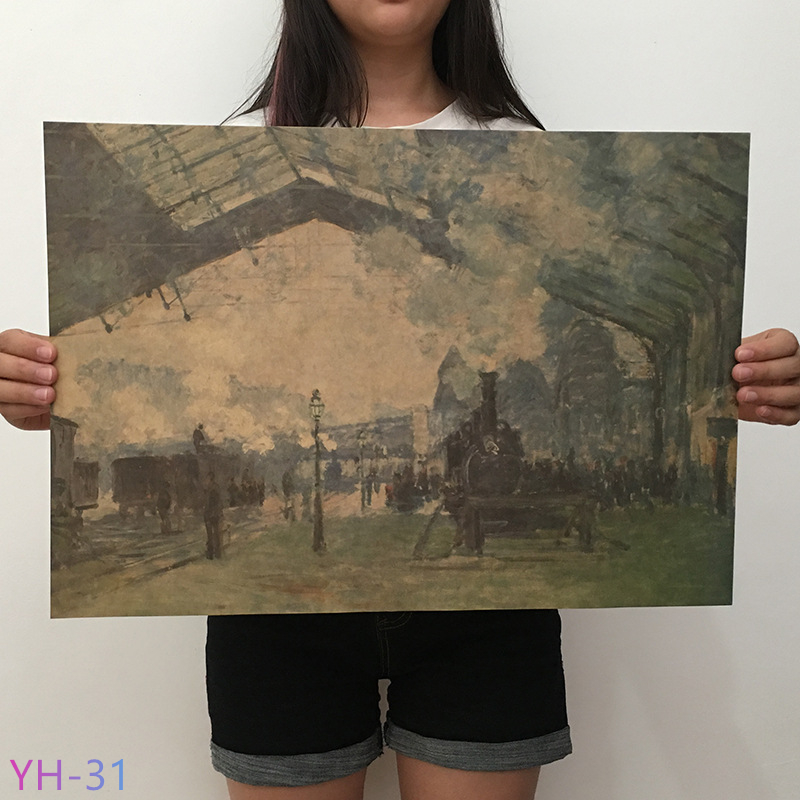 Van Gogh Monet Oil Painting Poster Kraft Paper Retro Art Poster Cafe Living Room Home Decoration Painting Core YH-31-42