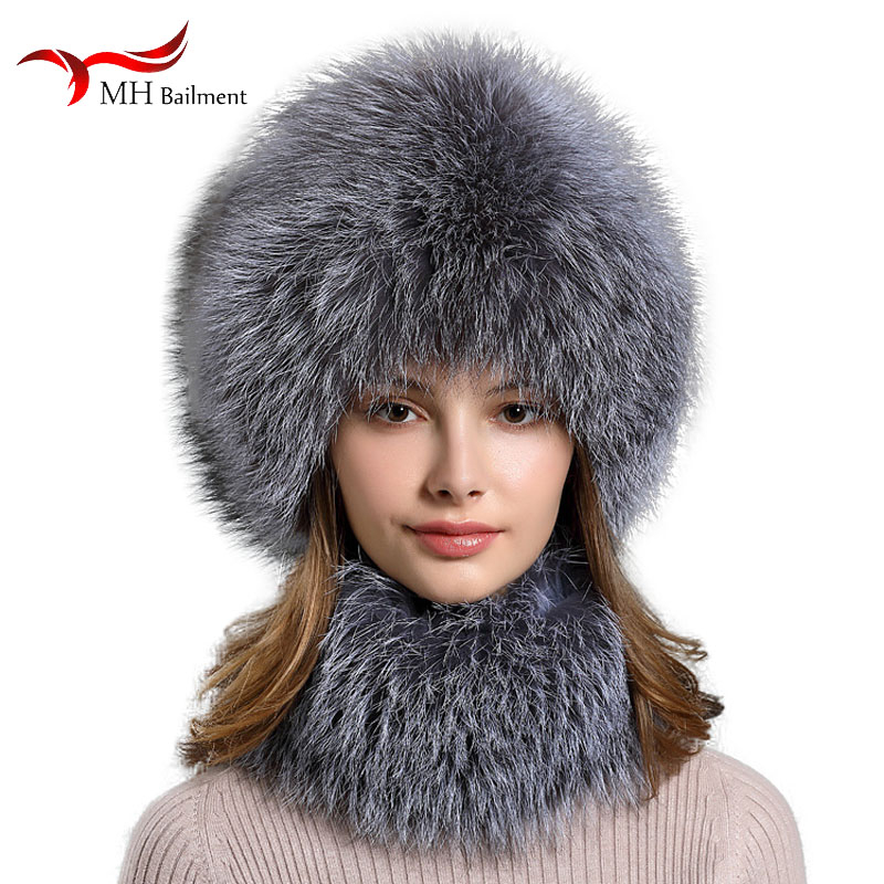 2019 Winter Outdoor Warm Fur Hat Earmuffs Scarf Hat Female Fashion Brand Designer Hat Female New Real Fox Fur Hat Scarf Cap Set