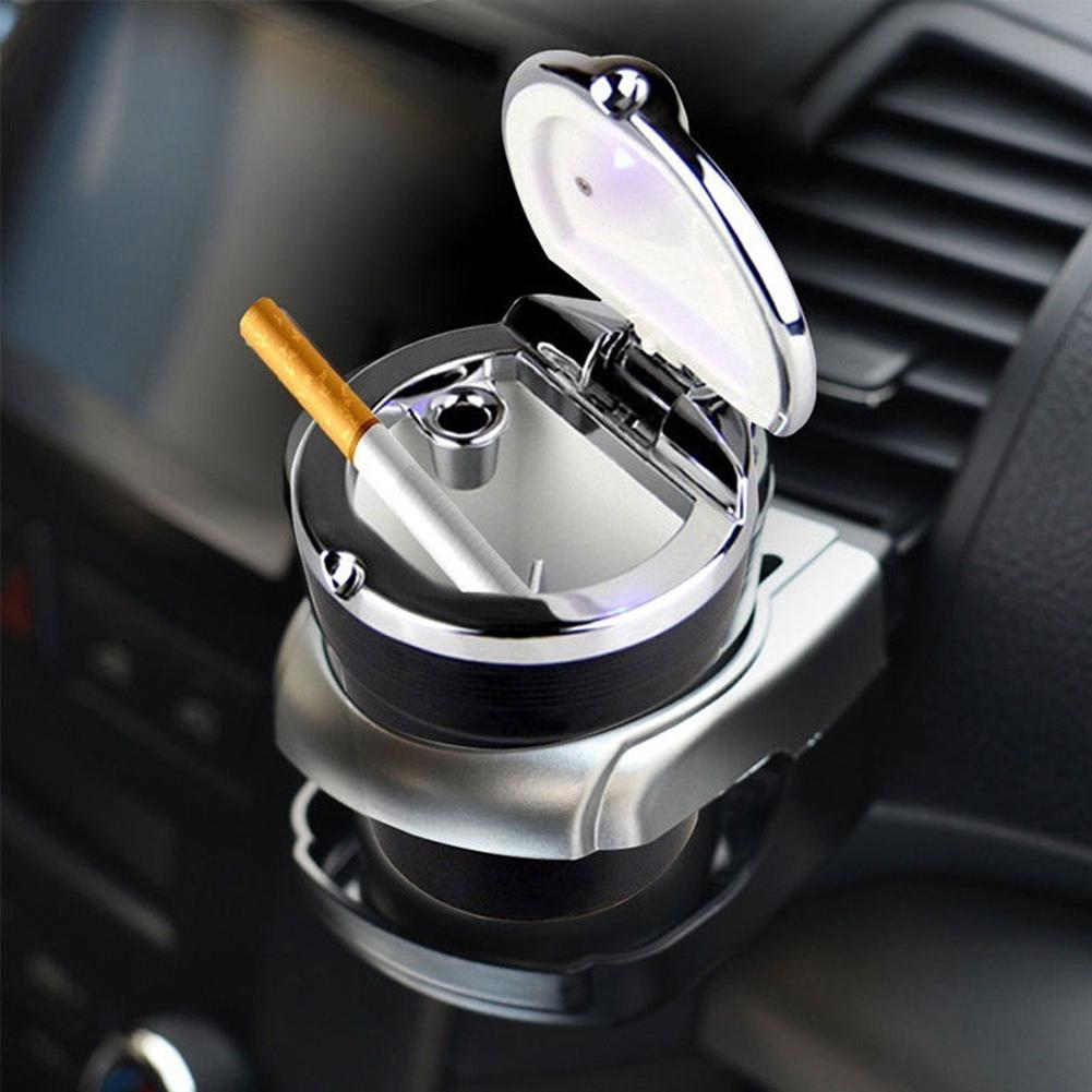 Classic Mini Portable Car Auto Travel LED Light Ashtray Cigaret Ash Storage Holder Cup Fashion Cylinder Fit Most Car Cup Holder