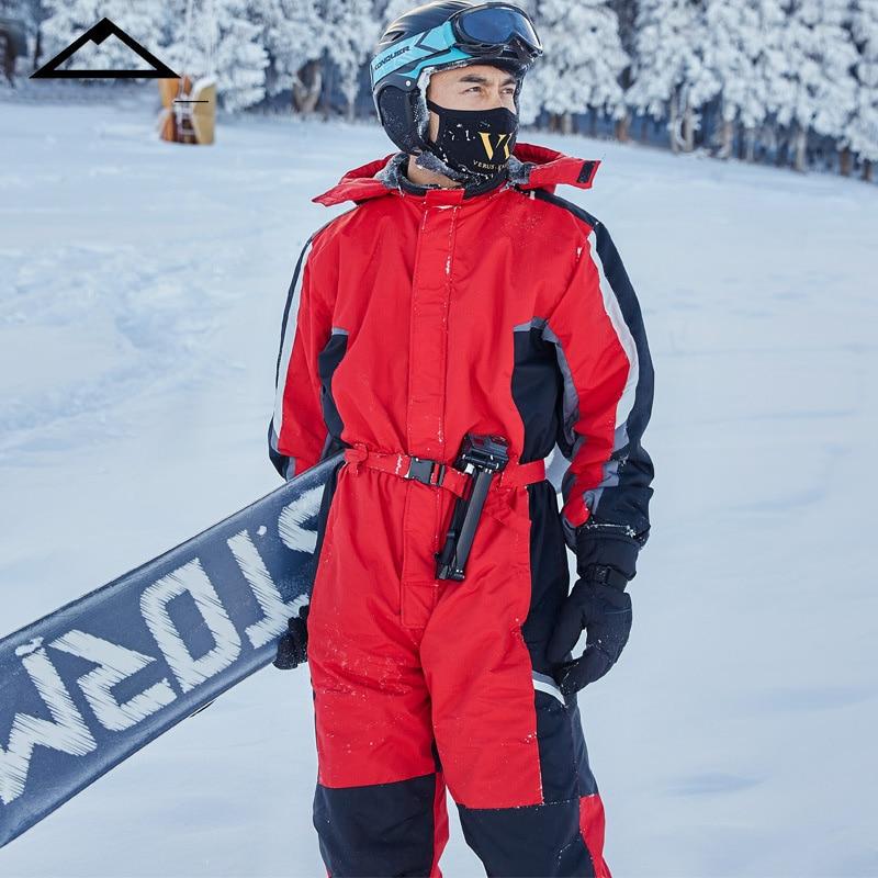 2019 Winter Hoodie Snow Jumpsuit Overalls Snowboarding Warm Sports Waterproof Skiing One-Piece Men Fleece