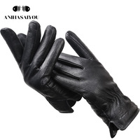Мужские зимние перчатки из оленьей кожи,мягкие мужские перчатки,черные перчатки из натуральной кожи 1
