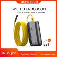DEPSTECH-endoscopio inalámbrico HD de 5.0MP, boroscopio con WiFi, 16 pulgadas, distancia Focal, cámara de inspección semirrígida de serpiente para iOS