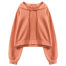 Women's Casual Long Sleeve Solid Color Pullover Hoodies Crop Sweatshirt Tops Harajuku Elegant Women Clothing C372 цена и фото