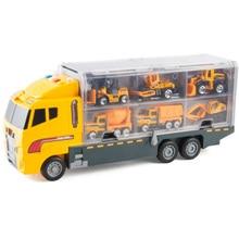 Большой грузовик и 6 шт. мини литой автомобиль модель 1: 64 масштабные Игрушки транспортные средства Перевозчик грузовик инженерные игрушки для детей мальчиков