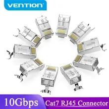 Vention Cat7 RJ45 커넥터 Cat7/6/5e STP 8P8C 모듈러 이더넷 케이블 헤드 플러그 네트워크 용 금도금 RJ 45 크림 퍼 커넥터