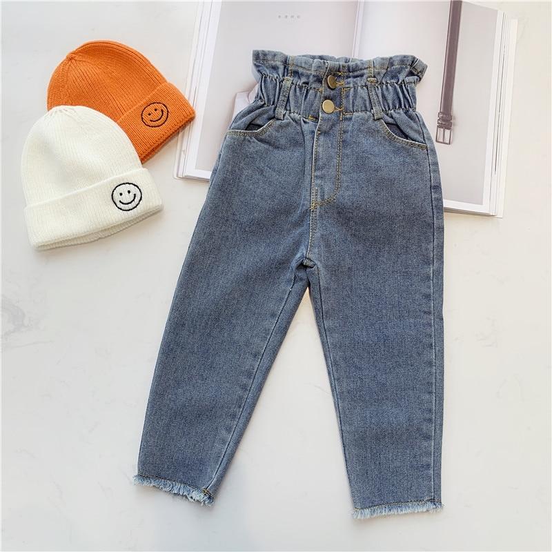 2019 Autumn Girls High Wiast Jeans Kids Fashion Denim Pants Kids Jeans Girl 1