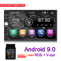 2Din Android 9.0 Car Radio Stereo 7inch Universal Car Player GPS Navigation Wifi Bluetooth OBD2 USB RDS SWC Audio Video No DVD