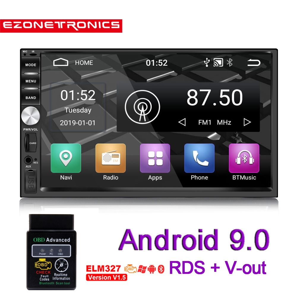 <font><b>2Din</b></font> <font><b>Android</b></font> 9.0 Auto Radio Stereo 7 zoll Universal Auto-Player <font><b>GPS</b></font> Navigation Wifi Bluetooth OBD2 USB RDS SWC Audio Video keine DVD image