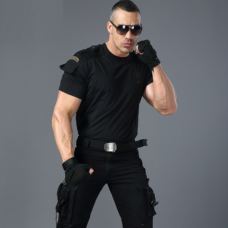 T     Shirt   Military Style Tactical   T  -  shirt   Men's Cargo Uniform Short Sleeved Tee Male Tshirt Clothing Black Army Green   T     Shirt   Men