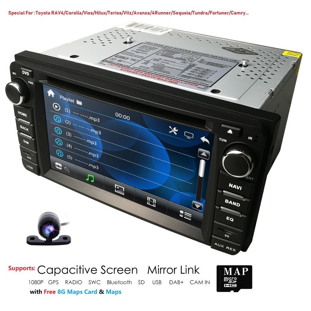 Car Multimedia Player 2din Car CD Dvd Player Radio Stereo GPS Navigation BT Universal For Toyota RAV4 Vios Hilux Terios Vitz Cam