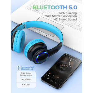 Image 3 - Mpow CH9 Bluetooth Kids Headphones Foldable Headset With Microphone LED Light 85dB Volume Limit For Children Boys Girls Teens