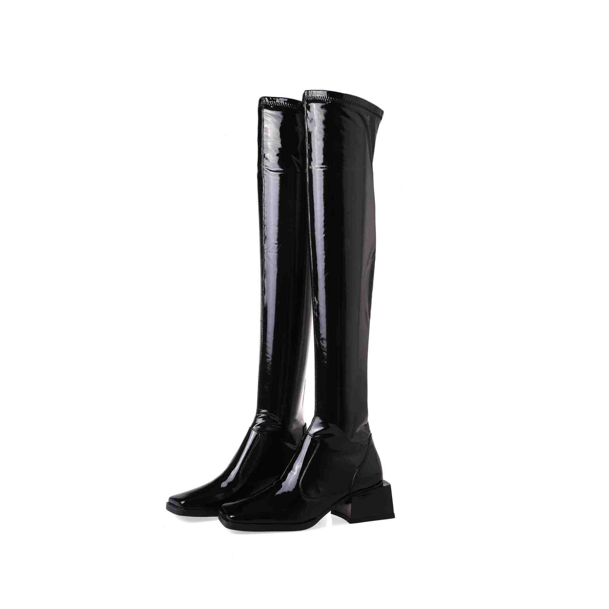Krazing Pot sıcak kış sıcak rahat streç çizmeler kare ayak yüksek topuklar inek deri kadın basit tarzı aşırı the-diz çizmeler L87