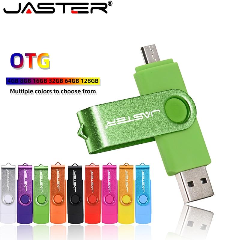 Usb 2.0+OTG Jaster Usb Flash Drive For SmartPhone/Tablet/PC 4GB 8GB 16GB 32GB 64GB  Pen Drive High Speed Plasticity Rotate 360