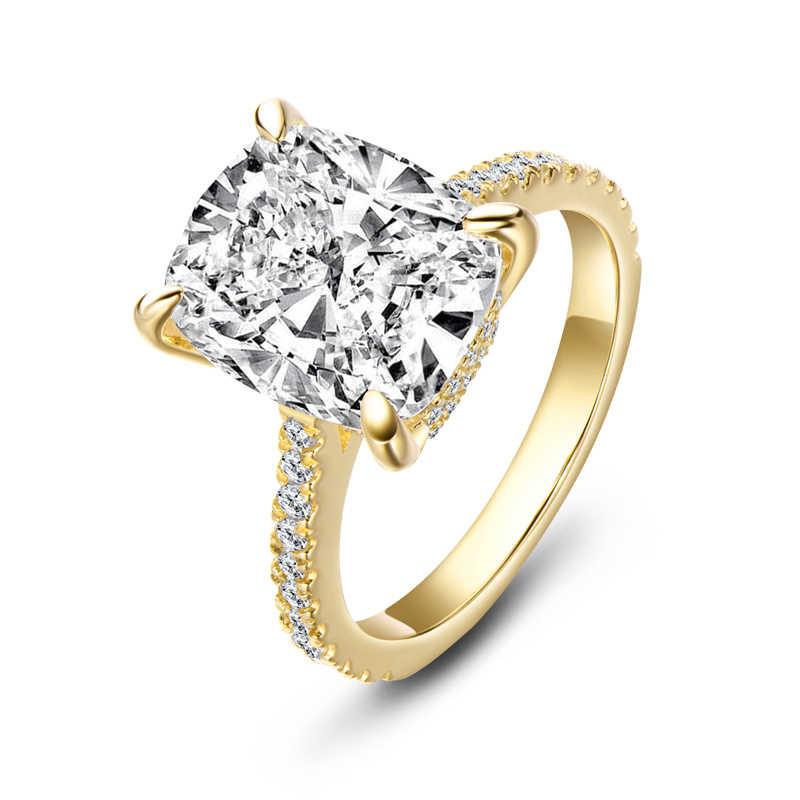 AINOUSHI 6 กะรัตแหวนการตั้งค่า Halo แหวนหมั้นเจ้าสาวสำหรับผู้หญิงเงิน