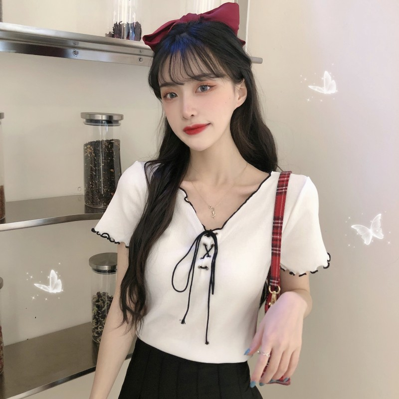 Милая и Пряная стильная женская футболка с коротким рукавом, новинка на лето, короткий топ из вискозы с V-образным вырезом и высокой талией, д...