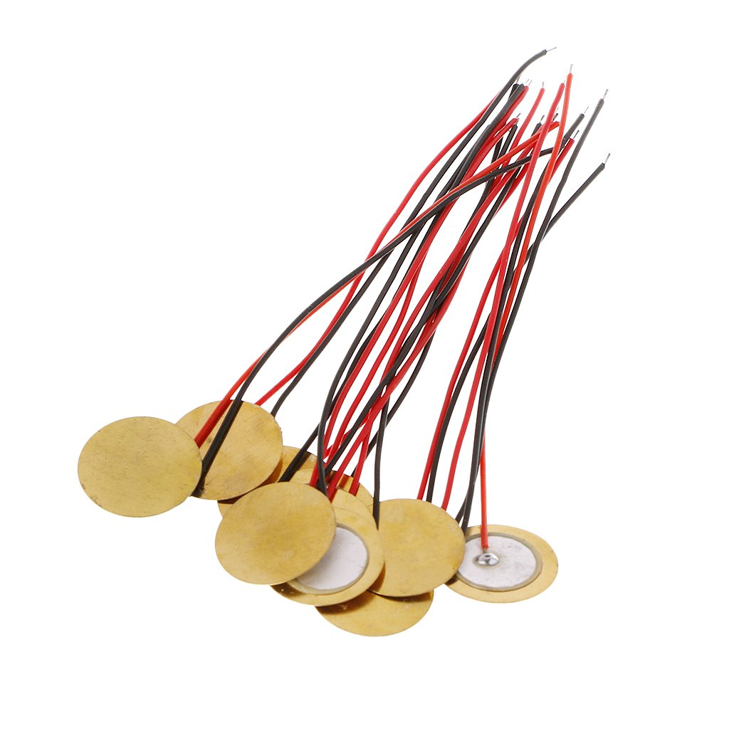 20pcs/lot 15mm Piezo Elements Buzzer Sounder Sensor Trigger Drum Disc With Wire Copper Piezo Buzzers For Arduino Loudspeaker