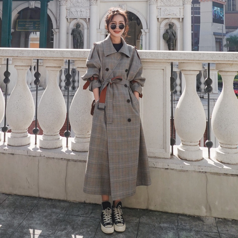 Chic Plaid Trench Coats Women Clothes Spring 2020 England Wind Coat Lapel Sashes Long Windbreaker Ladies Loose King-size Coats