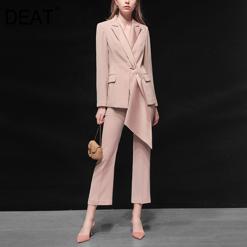 2020 New Spring Fashion Women Office Lady Clothing Turn-down Collar Full Sleeves Single Breasted Suit And Pants Set WK61611L