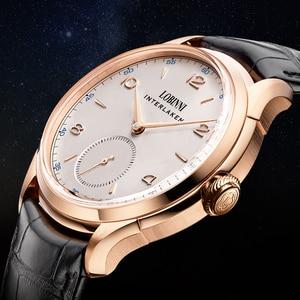 Lobinni business men mechanical watch male seagull automatic watch men simple mens wristwatch