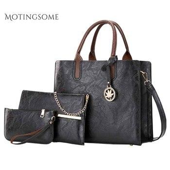 Women Bag 1set/3pcs Quality Leather Shoulder Tote Bag Purse and Handbag Messenger Fashion Bags Ladies Luxury Shopper Bags 2019