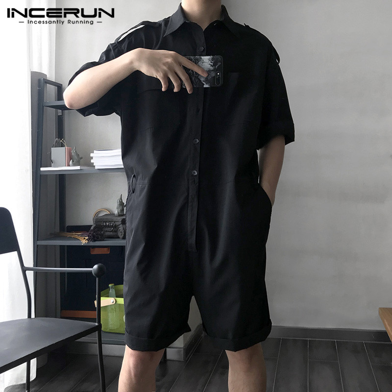 INCERUN Fashion Men Cargo Overalls Jumpsuit With Belt Half Sleeve Streetwear Solid Casual Playsuit Pants Men Rompers Harajuku