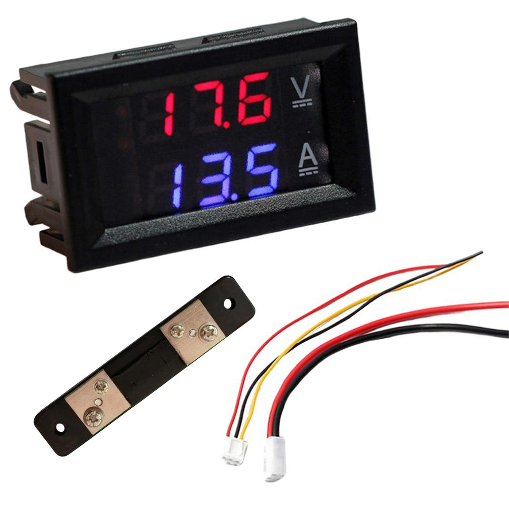 Светодиодный цифровой вольтметр Амперметр Us Dc 100V 10/50 / 100A Вольтметр Амперметр Led двойной фотометр