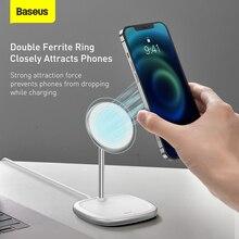 Baseus แม่เหล็กขาตั้งโทรศัพท์ตั้งโต๊ะ Wireless Charger สำหรับ iPhone 12 Pro Max โทรศัพท์ผู้ถือ Wireless Charger สำหรับ iPhone 12 Mini