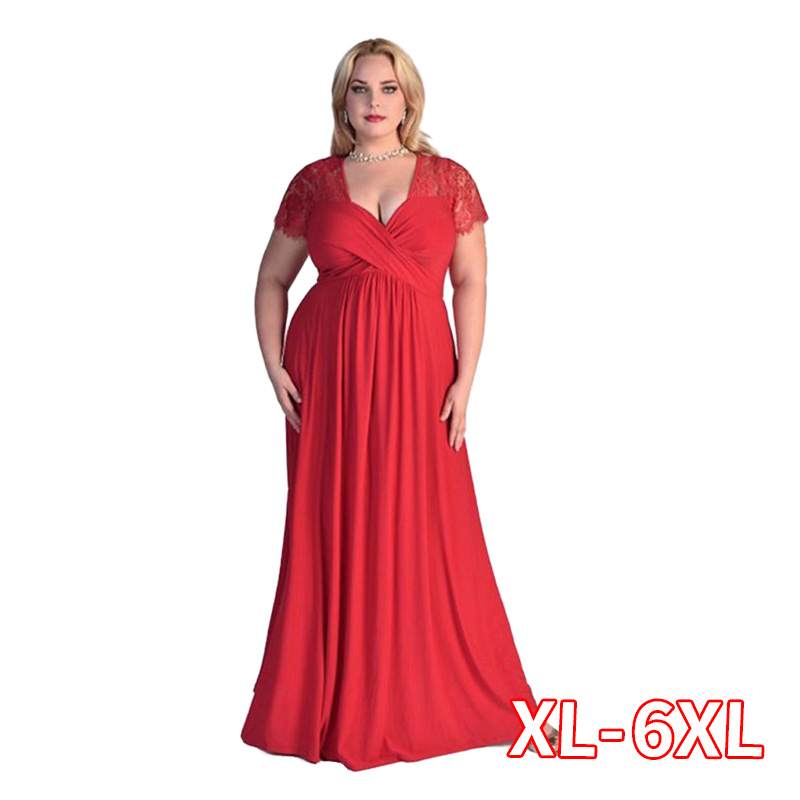 <font><b>Women</b></font> Big Large <font><b>Plus</b></font> <font><b>Size</b></font> Elegant <font><b>Sexy</b></font> Evening Maxi Long Little Black Red Party Lace <font><b>Dresses</b></font> 2xl 3xl 4xl <font><b>5XL</b></font> <font><b>6XL</b></font> <font><b>Clothing</b></font> Gown image