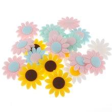 20 stücke Sonnenblumen Beißring Silikon Perlen Zahnen Baby Perle Charme Diy Baby Zahnen Spielzeug BPA FREI Kaugummi Nippel Halter