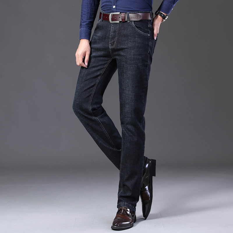 KSTUN Winter Jeans Men Black Jeans Business Casual Classic Direct Straight Long Trousers Businessman Gentlemen Denim Jeans Men 14