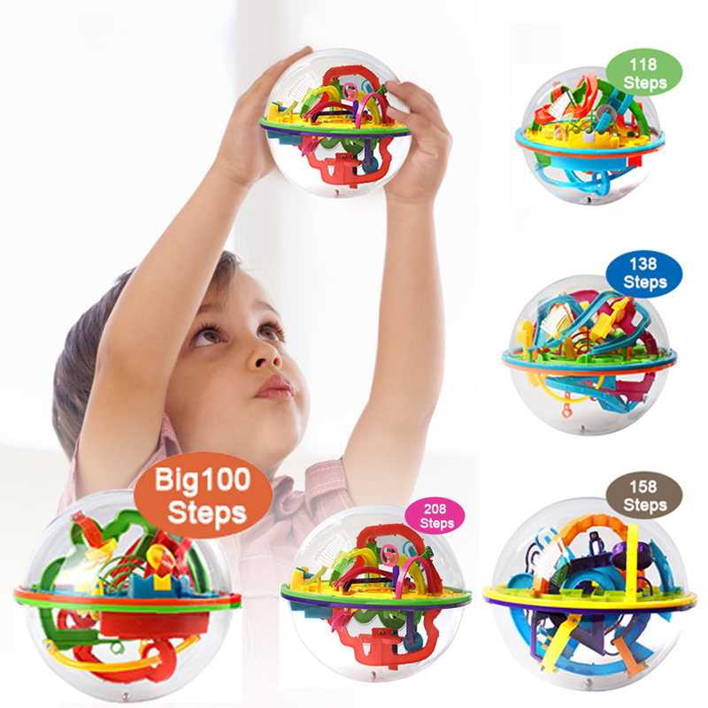 208 Step 3D Puzzle Ball Magic Intellect Ball Labyrinth Sphere Globe Toys Challenging Barriers Game Brain Tester Balance Training