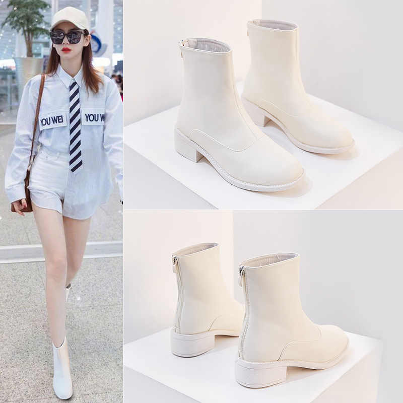 Koovan Women's Short Boots 2019 New Handsome Boots Female British Women's Shoes  Autumn Single Boot Wild Zipper Thin Boots