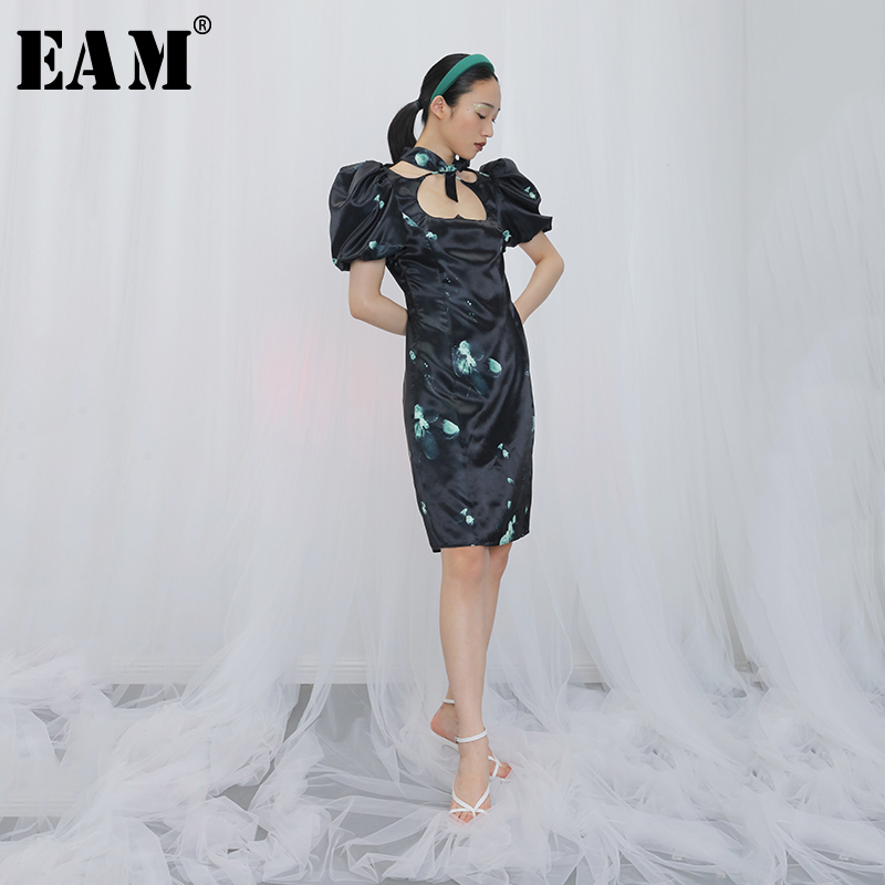 [EAM] Women Blue Pattern Printed Hollow Out Dress New Square Collar Short Sleeve Loose Fit Fashion Tide Spring Summer 2020 1X879