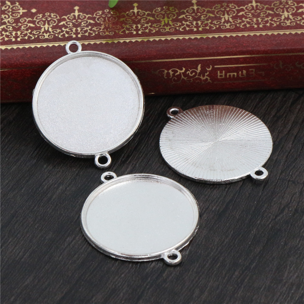 New Fashion  10pcs 25mm Inner Size Clear Silver Plated Cameo Cabochon Base Setting Charms  (A5-13)