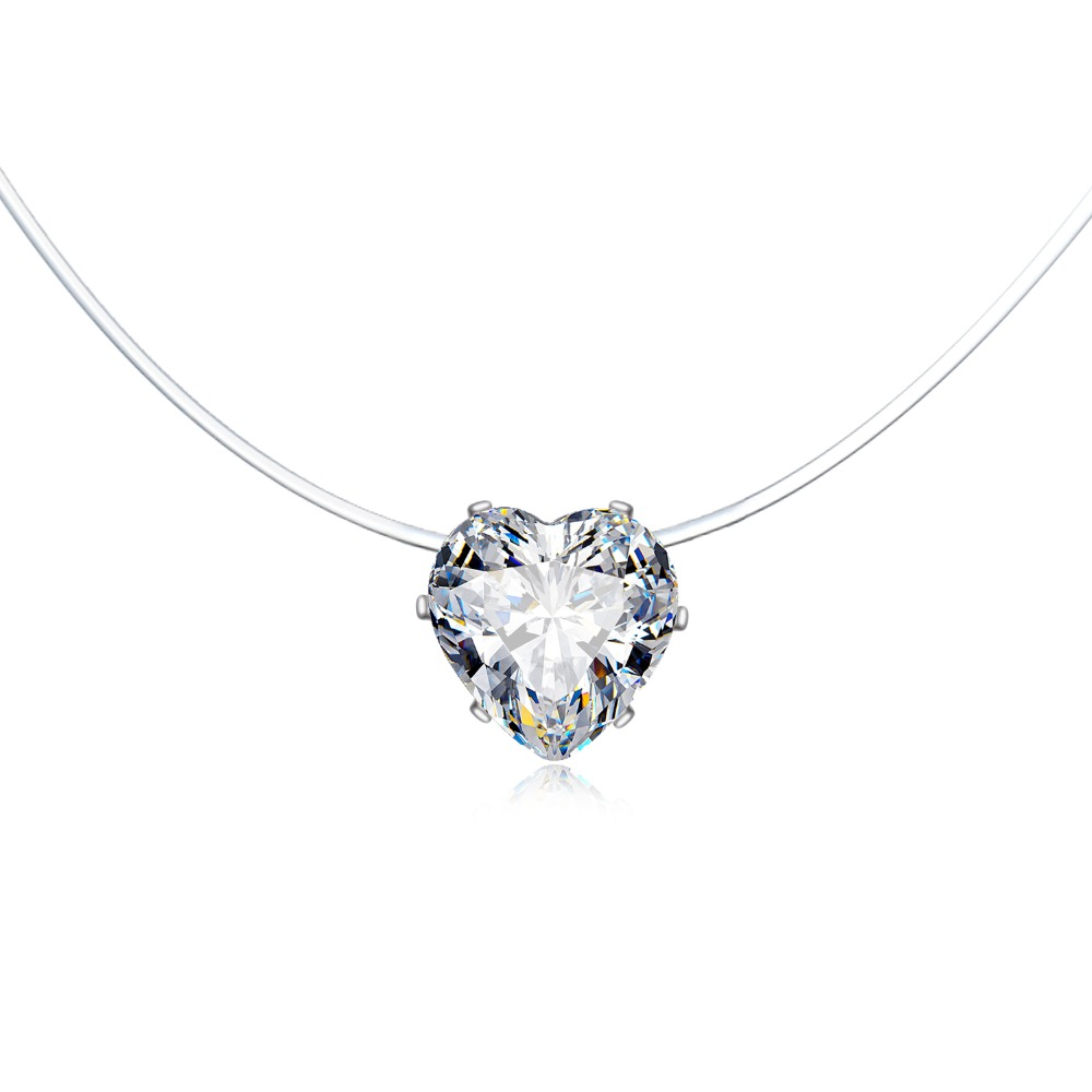 Trendy Wedding Heart Rhinestone Zircon Choker Necklaces Transparent Fishing Line Necklace Invisible Chain Necklaces Collier (5)