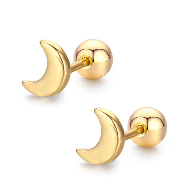 Женские и детские серьги-гвоздики с полумесяцем, Золотой пирсинг, ювелирный бренд Oorbellen Aros Orecchini