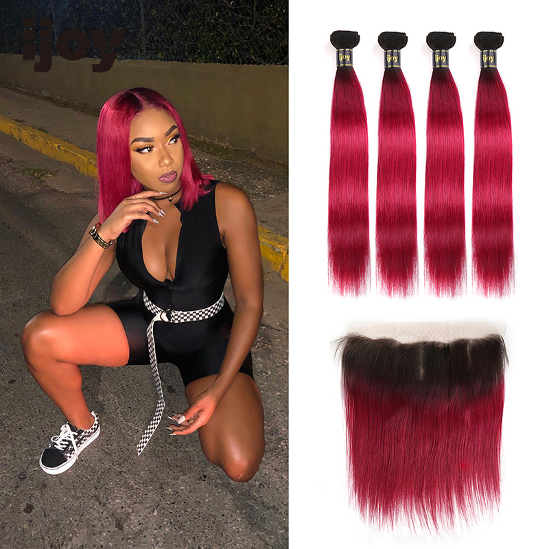Ombre Straight Human Hair 4 Bundles With Frontal 4x13 Lace #Burgundy Red 8-26inches Brazilian Hair Weave Bundles Non-Remy IJOY
