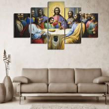 A última ceia pintura a óleo hd impresso moderno 5 peça modular fotos hd impressão da arte da parede da lona posters e cópias para o quarto
