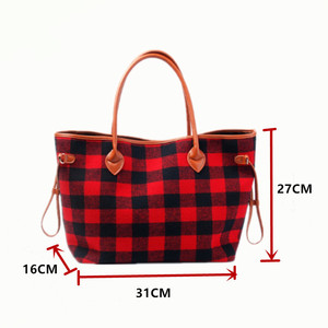 Image 2 - New For Christmas Buffalo Plaid Tote handbag With Lined Leather Trimmed Handles beach bag red and white check shopping handbag