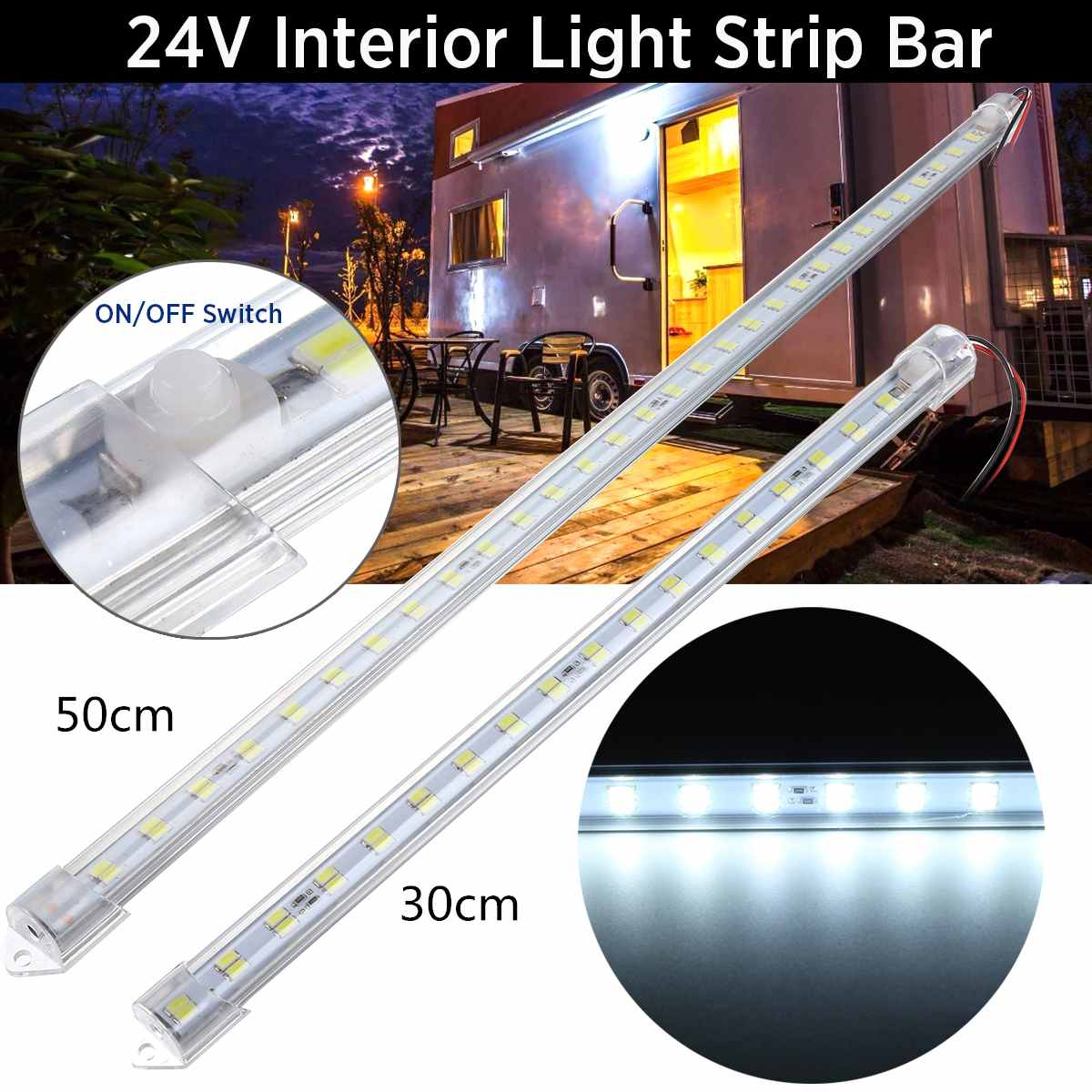 30cm / 50cm 24V Aluminum Car LED Interior Strip Light Bar Lamp Hard LED Bar Work Light RV Van Boat Caravan Auto Truck Vehicle