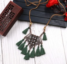 Ethnic Vintage Copper Kite Tassel Pendant Necklace Boho Bohemia Statement Women Sweater Long Necklace Jewelry statement tassel pom ball pendant necklace