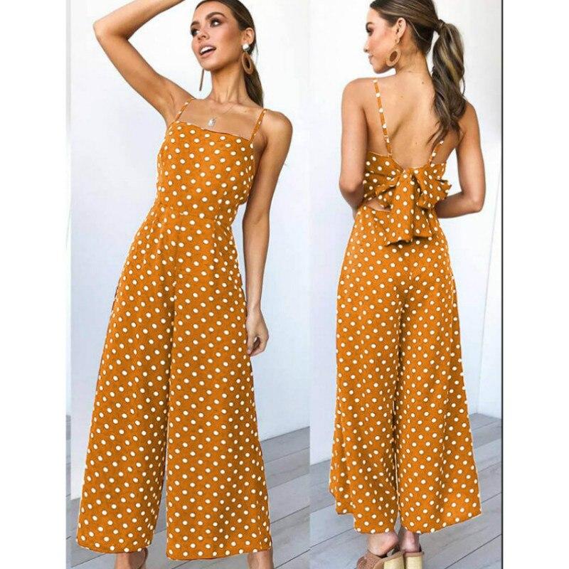 Sleeveless Backless Boho Bow-knot  Dot Jumpsuits Homewear Women 2020 Summer Romper Beach Club Elegant Overalls Dropshipping