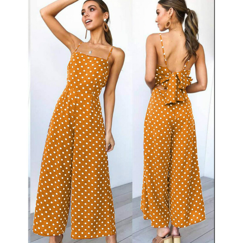 Sleeveless Backless Boho Bow-knot  Dot Jumpsuits Women 2020 Summer Romper Strap Beach Club Elegant Jumpsuit Overalls