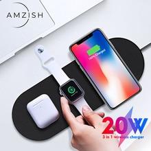 Amzish 20W Snelle Qi 3 In 1 Draadloze Oplader Voor Iphone 8 Plus X Xr Xs 11 Max Draadloze opladen Dock Voor Apple Horloge 4 3 2 Airpods