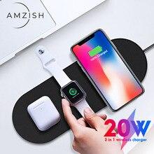 Amzish 20W rápido QI 3 en 1 cargador inalámbrico para iPhone 8 X XR XS 11 Max base de carga inalámbrica para el reloj de Apple 4 3 2 Airpods